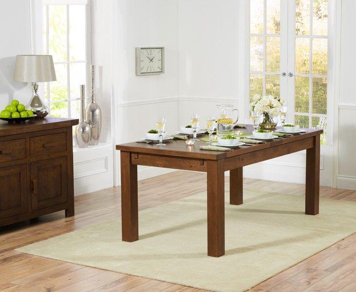 Normandy 180cm Dark Solid Oak Extending Dining Table.