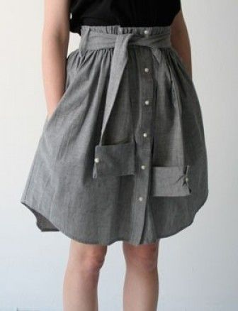Use a guys button down shirt and make into a skirt. Cute idea but I wouldn't use the sleeves as the belt.