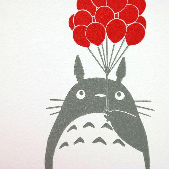 Totoro Birthday Letterpress Card By Greenbirdpress On Etsy