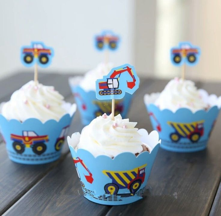 CONSTRUCTION DIGGER | TRUCKS CUPCAKE TOPPERS & WRAPPERS 24 PCS BIRTHDAY PARTY