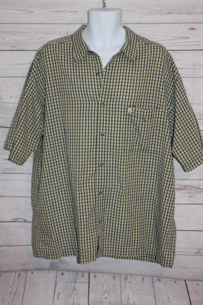 42352d235 Timberland Mens XXL Plaid Shirt Blue yellow check Short Sleeve ...