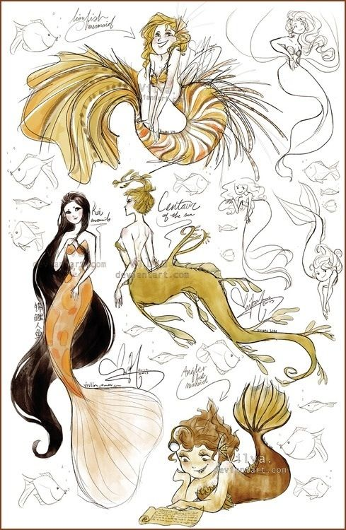 More mermaid sketches for Charlotte