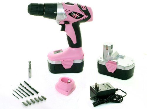 Pink Power PP182 18V Cordless Drill Kit for Women with 2 Batteries, Case, Charger, and Bit Set | shopswell