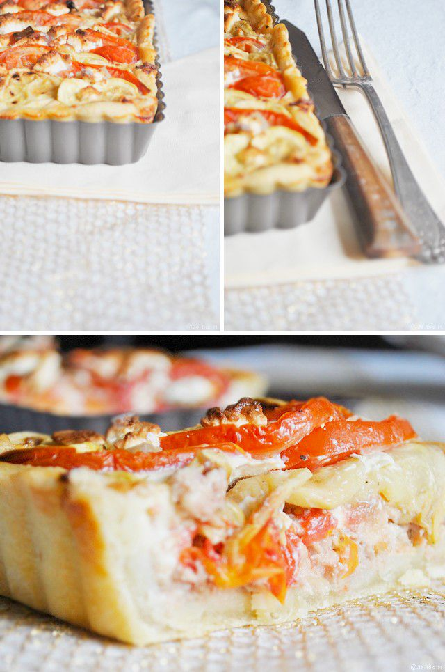 Tarte courgettes, tomates, thon et huile d'olive