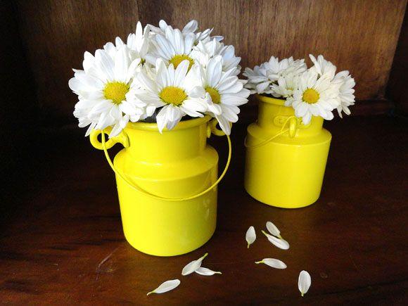 Sou fanzoca assumida dessas mini leiteiras – facilmente encontradas em casas de festas ou presentes! Podem acomodar de talheres a flores. No aniversário de um ano da minha filha, o tema era F…