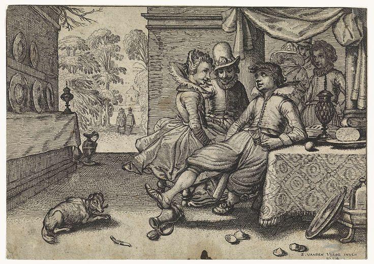 Simon Poelenburg | Elegant gezelschap aan gedekte tafel, Simon Poelenburg, 1614 | Een rijk gekleed stel en een jongeman met glas in de hand zitten aan een gedekte tafel op een patio met uitzicht op een tuin. Naast de tafel een wijnkoeler op de grond. Tegen de linker wand een lange, smalle kast met tinnen borden.