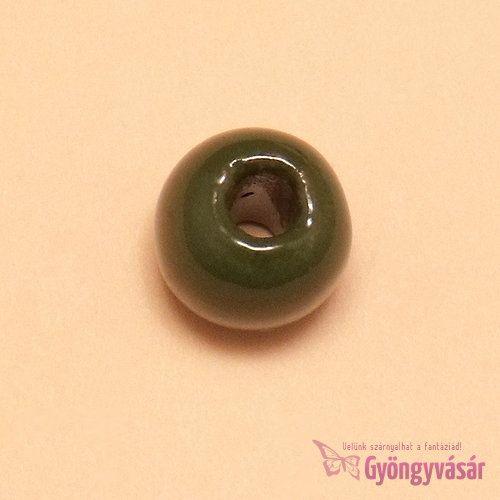 Sötétzöld, 11 mm-es perui kerámia gyöngy