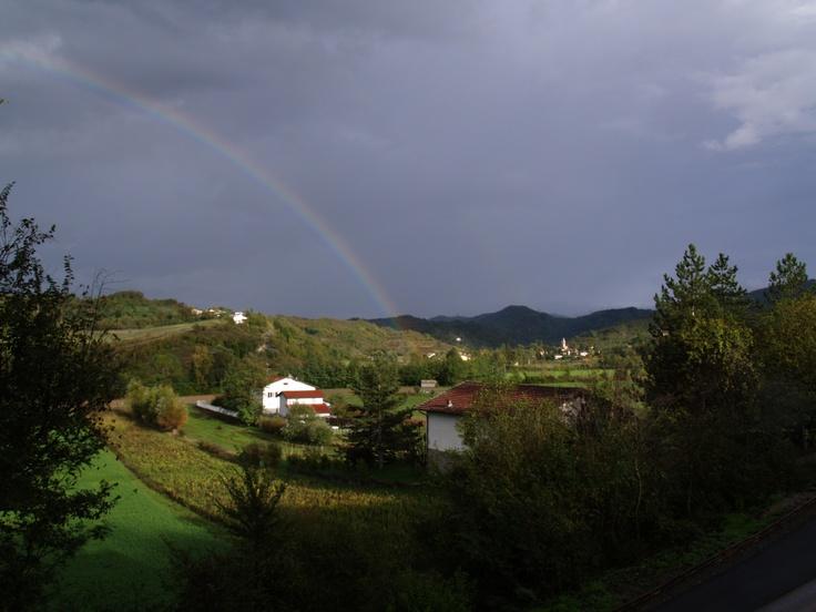 Rainbow over Pratolungo village