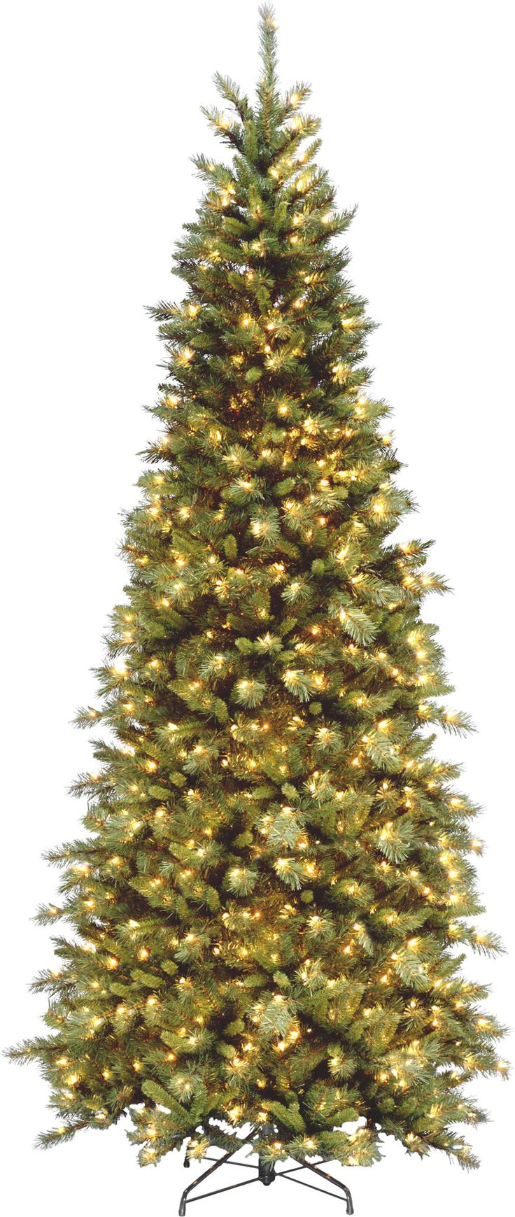 tiffany fir 9 green slim artificial christmas tree with 700 pre lit clear lights - 9 Slim Christmas Tree