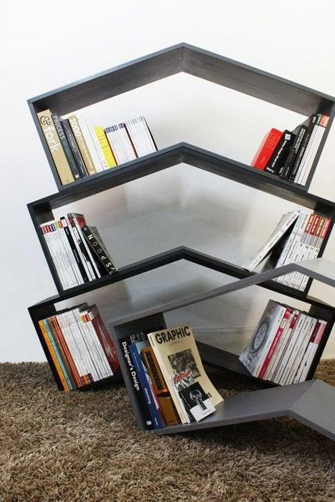 Who needs bookends when you have this cool bookshelf?