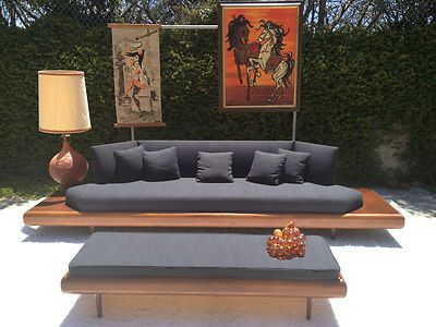 Mid Century Modern Adrian Pearsall Walnut Platform Sofa Couch & Coffee Table Set