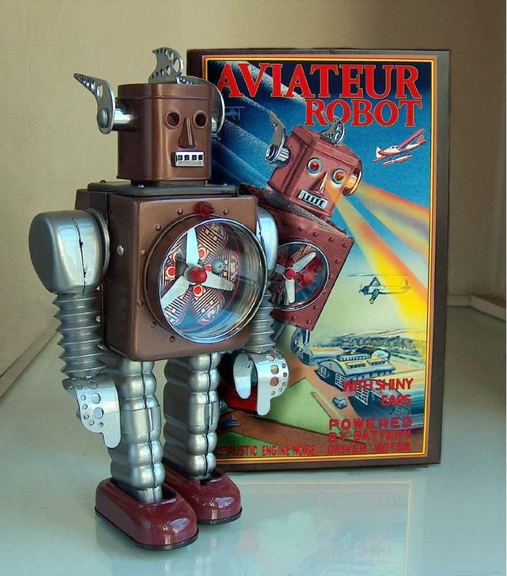 Aviateur Robot by Henk Gosses | Vintage and Retro Space Age Raygun, Rocket and Robot Toys | Sugary.Sweet Pins | #SpaceAge #Toy #Robot