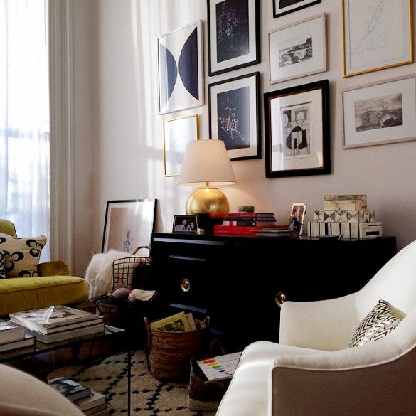 Sneak Peek at the Set Design of Nancy Meyers' Latest Movie//Eclectic Apartment Design With Gallery Wall