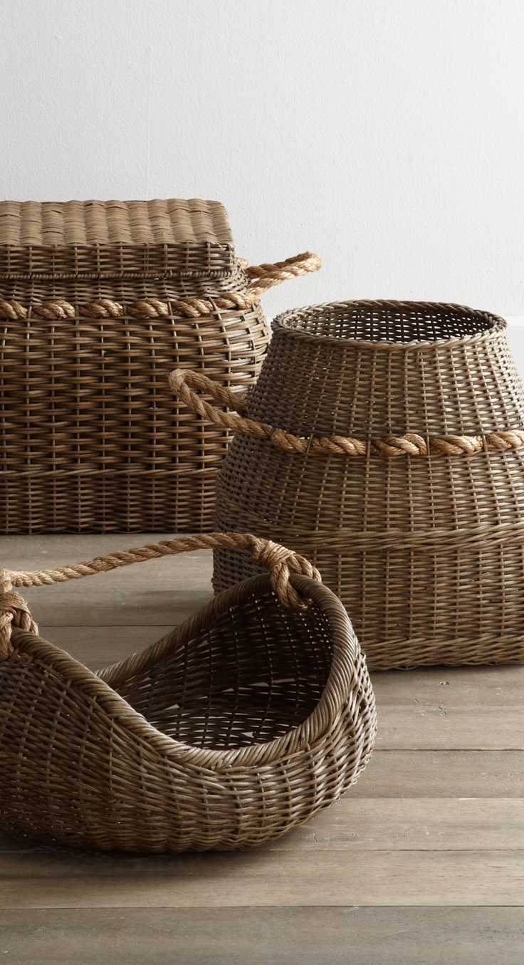 Rattan Baskets with rope handles...offer wonderful accents and disguised storage.