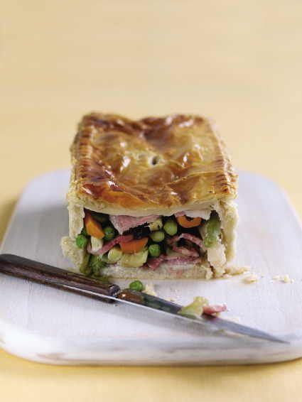 Sweet Cured Bacon Pie with Spring Vegetables