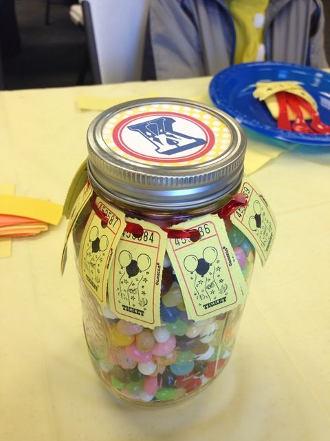 Guessing game at a Circus Party #circus #party. Could be fun for grad party. Guess how many Smarties.