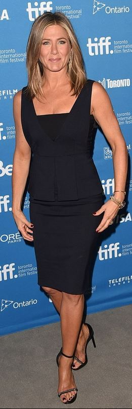 Who made  Jennifer Aniston's blue peplum dress and black chain sandals that she wore in Toronto