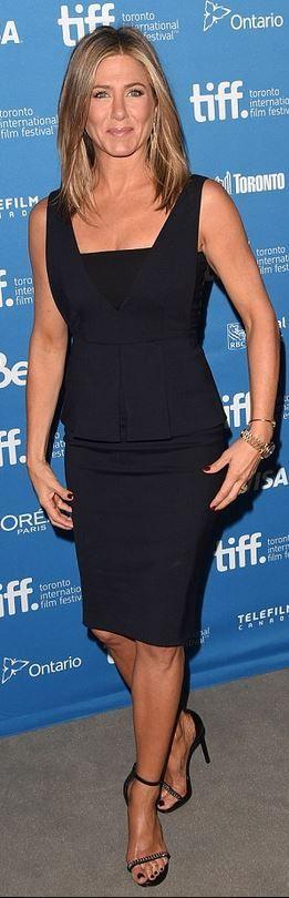 Who made Jennifer Aniston's blue peplum dress and black chain sandals that she…