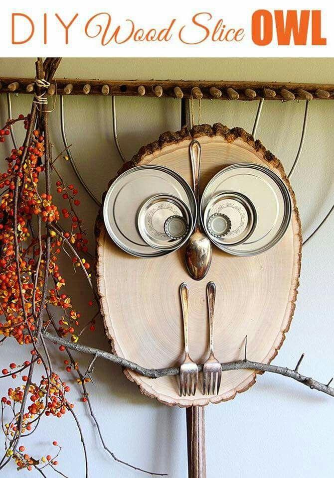 Owl wood slice diy fall