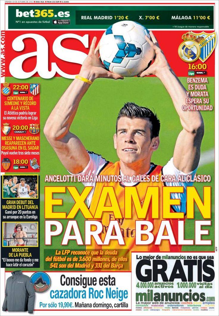 Los Titulares y Portadas de Noticias Destacadas Españolas del 19 de Octubre de 2013 del Diario Deportivo AS ¿Que le pareció esta Portada de este Diario Español?