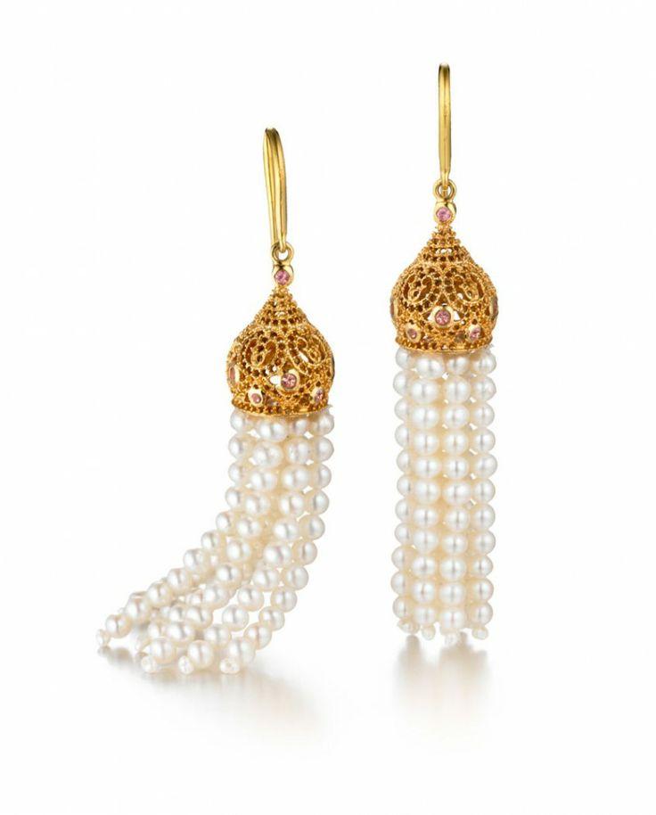 RUBELLITES & FRESH WATER PEARL TASSEL EARRINGS #Jewelry #Luxurious #Fashion #New
