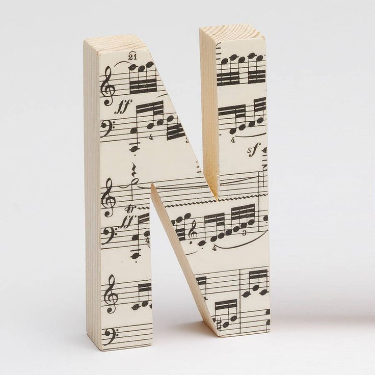 Old sheet music on wooden letters