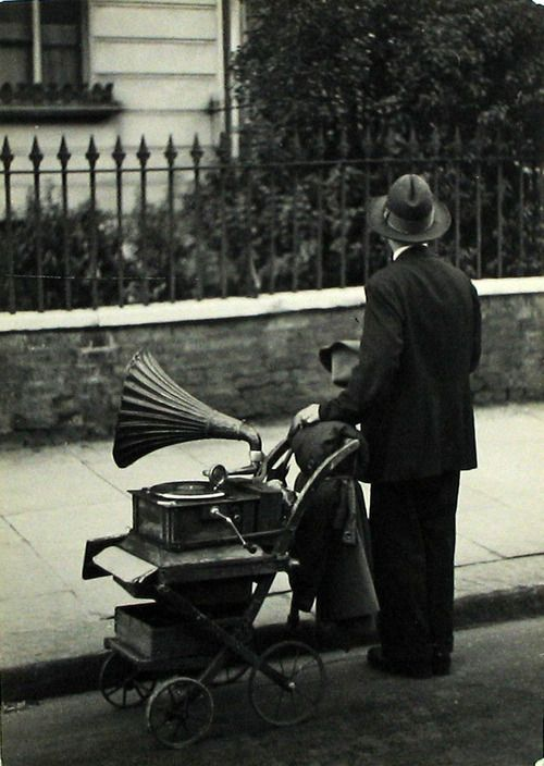 Man with gramophone