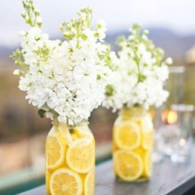 Lemons and white flowers