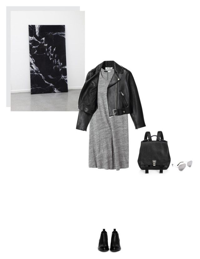 """""""on the edge"""" by marissa-m-g ❤ liked on Polyvore featuring Acne Studios, Thakoon Addition, Alexander Wang, Proenza Schouler, Victoria Beckham, leatherjacket, backpack and minimalism"""