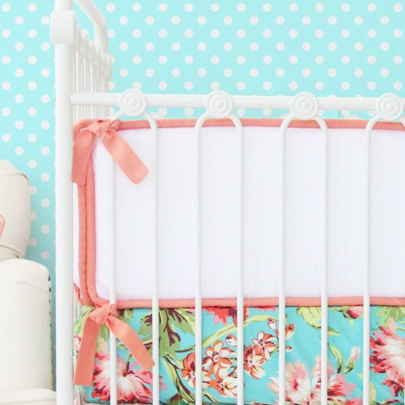 Light Coral and White Crib Bumpers  Coral by CadenLaneBabyBedding