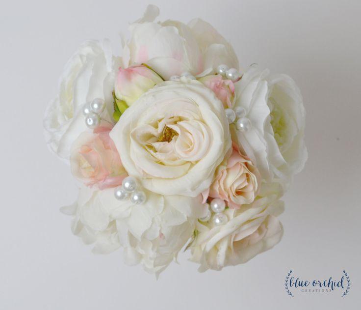 Peony Bridesmaid Bouquet, Cream, Ivory, Blush Peony and Rose, Bridesmaid Bouquet, Pearls, Wedding Flowers, Silk Flower Bouquet, Wedding Set by blueorchidcreations on Etsy