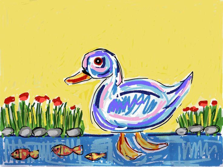 Ilustración pato y peces en el lago!! www.ignasimiralbellriera.com