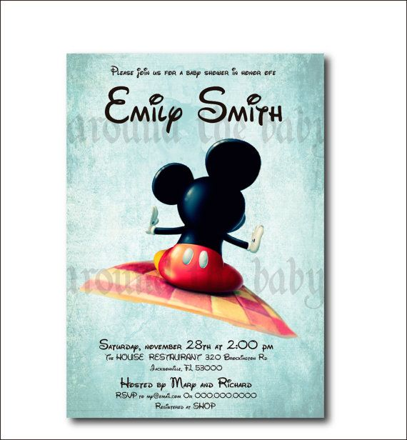 mickey mouse baby shower invitation you print by aroundthebaby