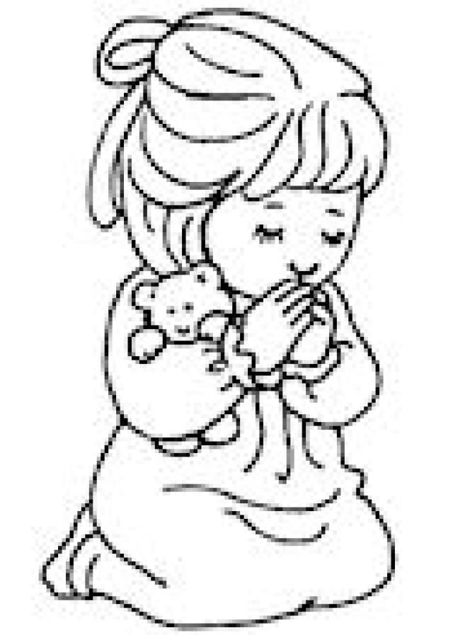 Sunday School Coloring Pages: Girl Saying a Prayer Coloring Page