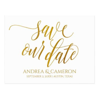 Luxe Typography Save-the-Date Postcard | Faux Foil - #customizable create your own personalize diy