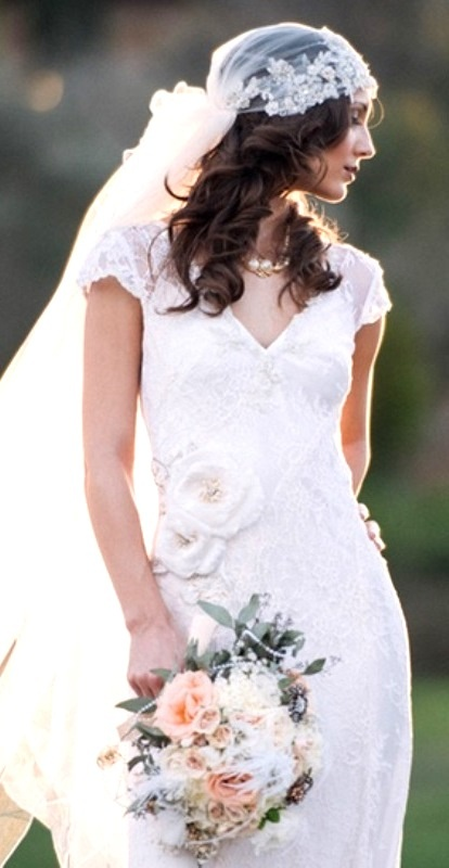 Brides Casual Down Curls With Gatsby Style Veil Wedding Hairstyle Is Just The Right Look For