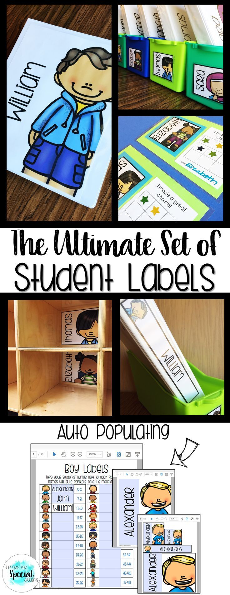 This huge bundle of editable student labels was created to save you time and energy! Type your students' names once and they will auto populate onto every label! There are 44 student pictures to choose from. The pictures include a wide range of races and
