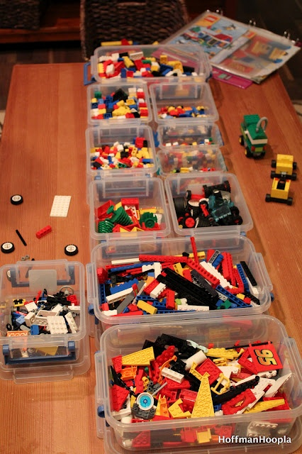 another lego organizing idea. Although I love to organize by color...it makes more sense for building to organize by size (ie: 4X2, 6X2, etc.)