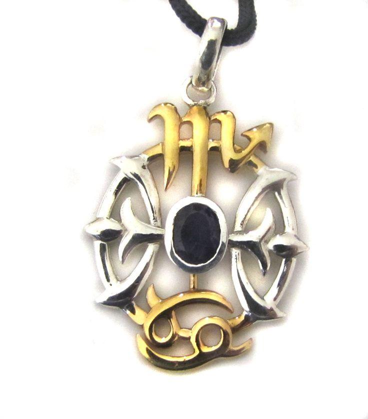 Anhänger Wikingerkompass aus 925er Sterling Silber mit 18karätigem Gold und einem Iolith verziert, welcher auch als Dichroit, Cordierit oder aufgrund seiner schwärzlichblauen, ins Violette spielenden Farbe auch als Veilchenstein bekannt...
