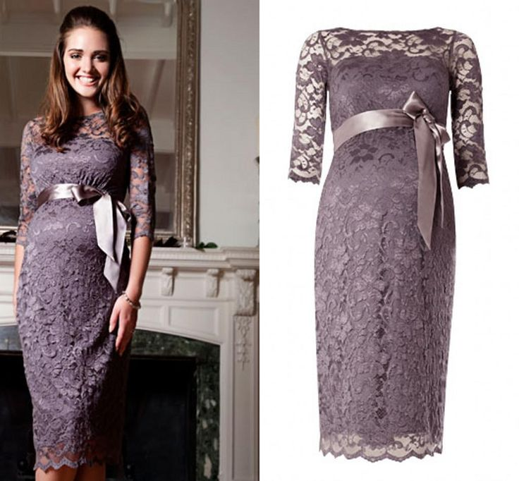 Comes in many colors! Nicest Bateau Half Sleeve Lace Maternity Evening Dresses With Sash Tea-Length Custom Made Formal Gown Boutique Custom Made For Pregnant, $124.4 | DHgate.com