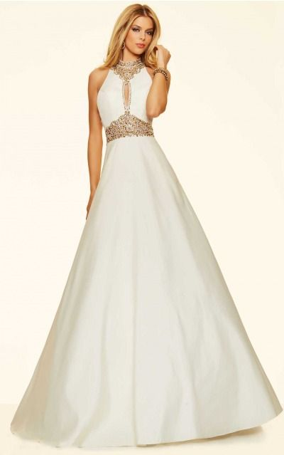 Ball Gown High Neck,V-neck Empire Sleeveless Floor-length Prom Dresses