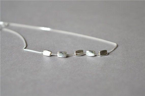 Bola de plata maciza mini pequeñita simple collar punto, 925 collar de plata esterlina lleno, superficie de brillo de espejo, minimalism(XL97) minimalista