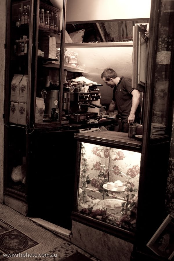 Switchboard Cafe in the Manchester Unity Building, Melbourne - amazing coffee served out of an old switchboard cupboard!!