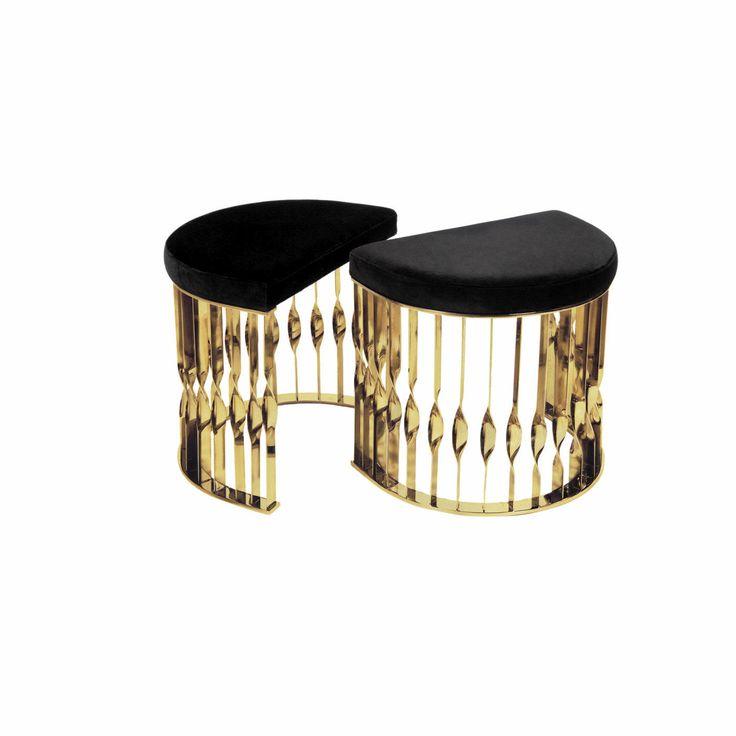 J. Emmanuel Mandy Stool #jemmaneul #mandy #stool #sofa #modern #furniture #jewelry #upholstery #brass #stainless
