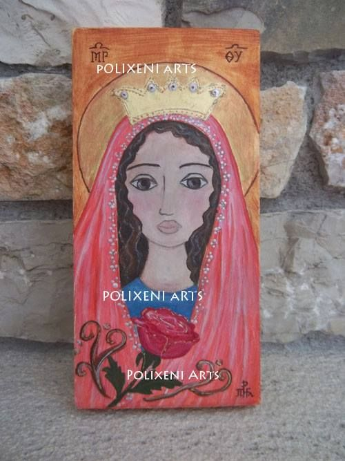 """Polixeni R  """" Η Παναγια """" """"Mother Mary"""" Hand painted, MDF Board 16cm x 22.5cm"""
