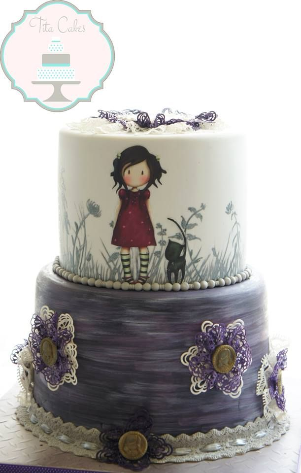 Painted cake art, a girl & her kitty.