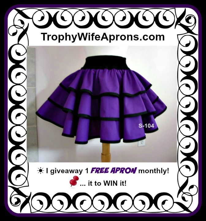"Trophy-Wife Skirt # S-104 -  $79.99 - This triple-layered skirt will fit waist sizes 26"" to 36"" 14"" long from the black elastic to the bottom. Available in all sizes. To give it its fullness, I used twice as much fabric as I do for my aprons. ☀ ☀ I give away a FREE Funky Hostess Apron every month ☀ ☀ CLICK HERE for details==>  www.facebook.com/TrophyWifeAprons"