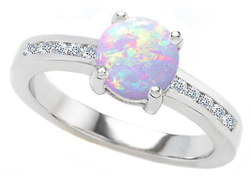 7mm Created Opal Engagement Ring-27054--- i would love to get an opal engagement ring :-)