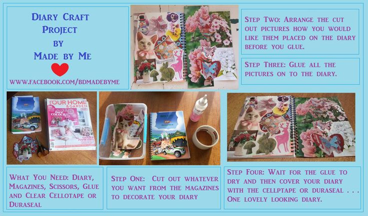 A simple way to decorate a diary...put together by me.  Check out my other creations at www.facebook.com/bdmadebyme