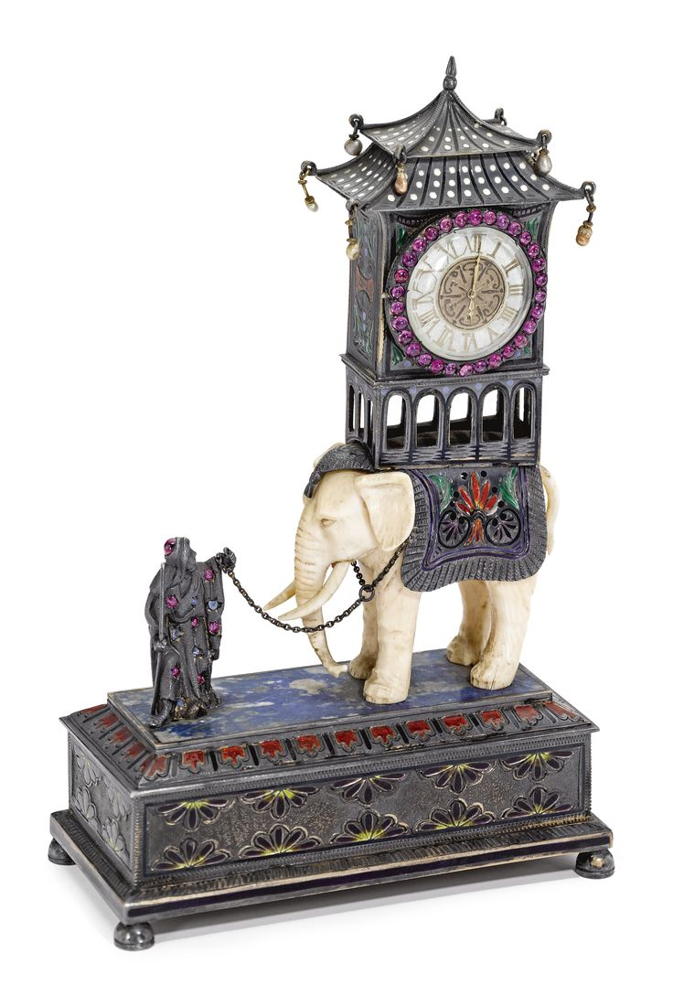 SWISS A SILVER, IVORY AND ENAMEL DECORATIVE DESK TIMEPIECE LATE 19TH CENTURY